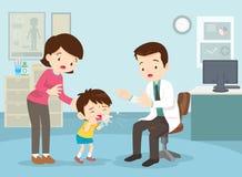 La madre ha preso suo figlio per vedere il medico Immagini Stock Libere da Diritti