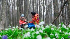 La madre hermosa y la hija linda están leyendo un libro interesante en un bosque de la primavera por completo de snowdrops florec almacen de metraje de vídeo