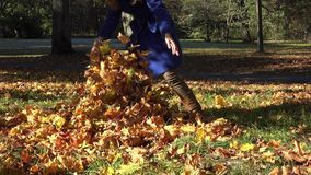 La madre juguetona cubre al bebé con las hojas coloridas en parque del otoño 4K almacen de metraje de vídeo