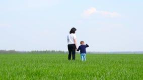 La madre lleva a su hijo por la mano en un campo verde contra el cielo azul Familia feliz, el cuidar y maternidad Viajes metrajes