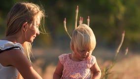la madre rubia muestra las pequeñas flores del campo de la hija en prado almacen de metraje de vídeo
