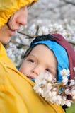 La madre y el niño en honda entre sakura florece Imagen de archivo