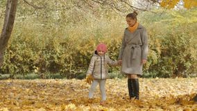 La madre y la hija en un paseo en el otoño parquean El caminar junto en el amarillo del bosque del otoño caido se va Fotografía de archivo libre de regalías