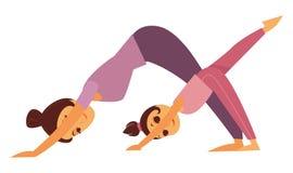 La madre y la hija hace el ejemplo aislado los ejercicios de la yoga libre illustration