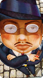 La mafia severa del hombre pone con el ejemplo del dibujo del cigarro Foto de archivo