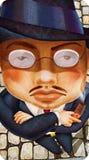La mafia severa dell'uomo indossa con l'illustrazione del disegno del sigaro Fotografia Stock