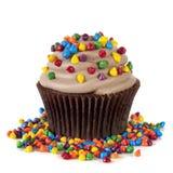 La magdalena del chocolate con asperja Imagen de archivo libre de regalías