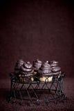 La magdalena del chocolate se apelmaza con la formación de hielo del merengue Foto de archivo libre de regalías