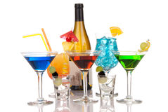 La maggior parte dei cocktail alcolici popolari bevono la composizione Immagini Stock