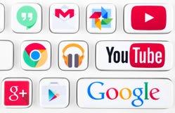 La maggior parte dei logotypes popolari delle applicazioni di Google Immagine Stock Libera da Diritti