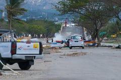 La maggior parte del ponte iconico su Palu Still Being Tourist Attraction dopo il tsunami immagini stock libere da diritti