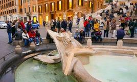 La maggior parte delle attrazioni turistiche importanti a Roma - lo Spagnolo fa un passo alla piazza Spagna immagini stock libere da diritti