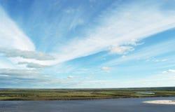 La maggior parte di fiume e del cielo con le nubi Fotografia Stock Libera da Diritti
