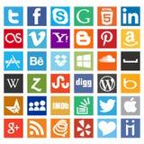 La maggior parte pacchetto sociale carente dell'icona di media Fotografia Stock Libera da Diritti