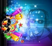 La magie allume l'aviateur de disco avec la forme du DJ Photos stock