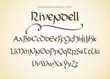 La magie décorative de vintage a dénommé des lettres Manuscrit de vecteur illustration stock