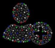 La maglia luminosa 2D aggiunge l'utente con i punti luminosi illustrazione vettoriale
