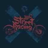 La maglietta del motociclo stampa l'illustrazione di vettore illustrazione di stock