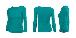 La maglietta della ciano donna Immagine Stock Libera da Diritti