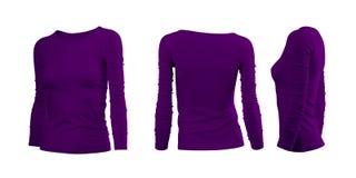 La maglietta della donna porpora Immagini Stock