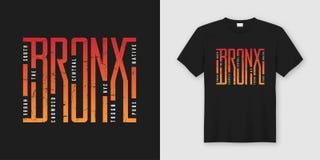 La maglietta e l'abito alla moda di Bronx progettano, tipografia, stampa, illustrazione di stock