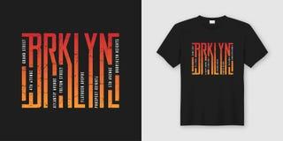 La maglietta e l'abito alla moda di Brooklyn progettano, tipografia, stampa, illustrazione vettoriale