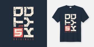 La maglietta e l'abito strutturati il Giappone di Tokyo progettano, tipografia, pri illustrazione di stock