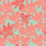 La magnolia del vintage florece el modelo inconsútil Imagen de archivo libre de regalías