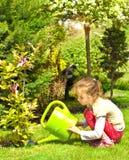 La magnolia dell'acqua della ragazza del bambino fiorisce nel giardino Fotografia Stock