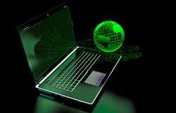 La main, écran d'ordinateur sur un fond noir, éléments a présenté la NASA Photo stock
