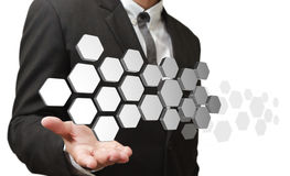 La main affiche à 3d les boutons abstraits Images libres de droits