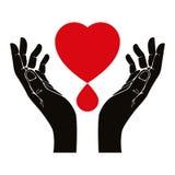 La main avec le coeur et le sang laissent tomber le symbole de vecteur Photographie stock libre de droits