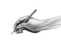 La main avec le crayon écrivent le dessin Image libre de droits