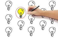 La main avec le dessin de stylo a sélectionné le cercle rouge de tiret autour du lig jaune Image libre de droits