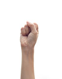 La main avec a serré un poing Images stock