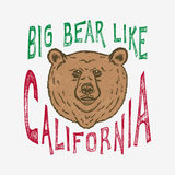 La main Big Bear en lettres aiment la Californie Illustration Libre de Droits