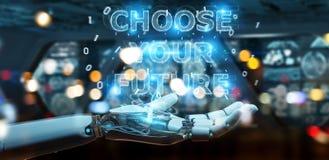 La main blanche de cyborg utilisant l'interface 3D des textes de future décision rendent illustration libre de droits