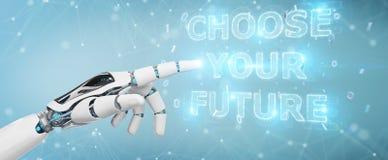 La main blanche de cyborg utilisant l'interface 3D des textes de future décision rendent illustration stock