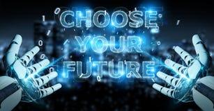 La main blanche de cyborg utilisant l'interface 3D des textes de future décision rendent illustration de vecteur