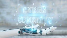 La main blanche de humanoïde utilisant l'hologramme 3D des textes de sécurité de cyber rendent Photo libre de droits