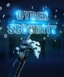 La main blanche de humanoïde utilisant l'hologramme 3D des textes de sécurité de cyber rendent Image libre de droits