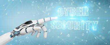 La main blanche de humanoïde utilisant l'hologramme 3D des textes de sécurité de cyber rendent Photographie stock