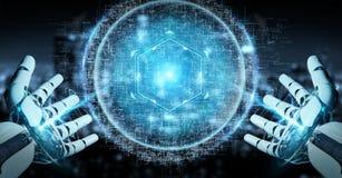 La main blanche de robot utilisant l'hologramme numérique 3D de connexion de sphère ren illustration stock