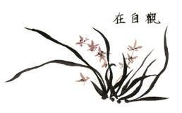 La main-Chine décorative magnifique distinguée traditionnelle chinoise, orchidée d'encre Images stock