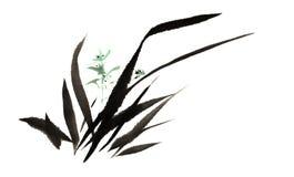La main-Chine décorative magnifique distinguée traditionnelle chinoise, orchidée d'encre Photos libres de droits