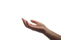 La main curative de la femme d'isolement sur le blanc image stock