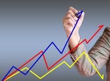 La main d'affaires écrivent le graphique. Images libres de droits