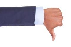 La main d'afro-américain faisant des pouces signent vers le bas - des personnes de race noire Image stock