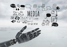 La main d'Android ouverte et le media textotent avec des graphiques de dessins Photographie stock libre de droits