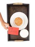 La main d'enfants offre le lait, biscuits pour Santa III Photos stock